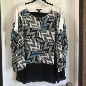NWT Alfani printed Layered Flowy Blouse 20W
